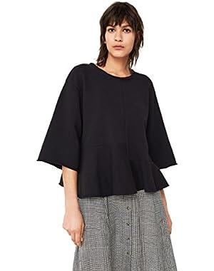 Mango Women's Ruffled Cotton Sweatshirt