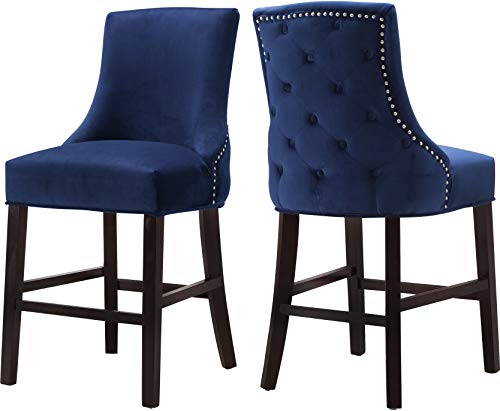 (Meridian Furniture 775Navy-C Hannah Collection Modern   Contemporary Navy Velvet Upholstered Counter Stool with Wood Legs, Button Tufting, Nailhead Trim, Set of 2, 19.5