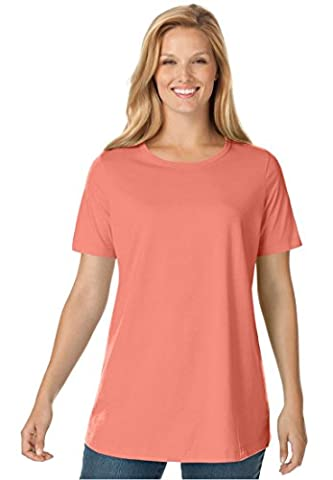 Women's Plus Size Top, Perfect Crewneck Tee In Soft Cotton Knit Sunset Coral,3X