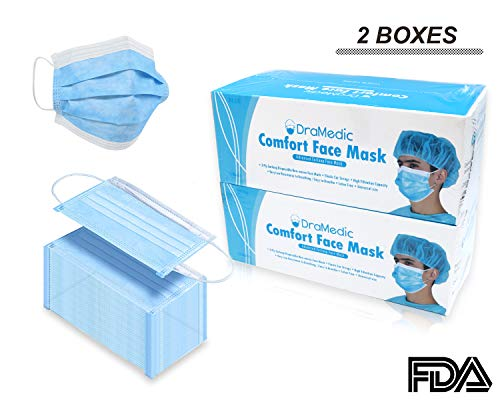 DraMedic Disposable Earloop Face Mask-Dental, Surgical, Medical, Allergy, Pollen, Antiviral, Flu, Cleaning, Painting, Mouth, Cover, Travel, Dust 100 pcs / 2 Boxes Blue