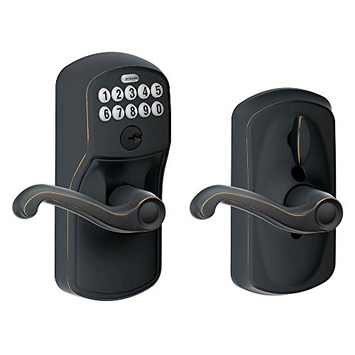 (Schlage FE595 PLY 716 FLA Plymouth Keypad Entry with Flex-Lock and Flair Style Levers, Aged)