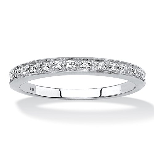 Platinum over Sterling Silver Diamond Accent Single Row Ring Size 7