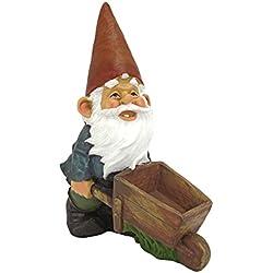 Design Toscano Wheelbarrow Willie Garden Gnome Statue Bird Feeder, 12 inch, Polyresin, Full Color