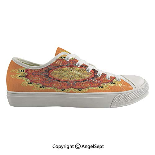 - Durable Anti-Slip Sole Washable Canvas Shoes 14.17inch Floral Mandala Pattern Leaves Kaleidoscope Art Ethnic Theme Zen Inspired,Orange Yellow Red Flexible and Soft Nice Gift