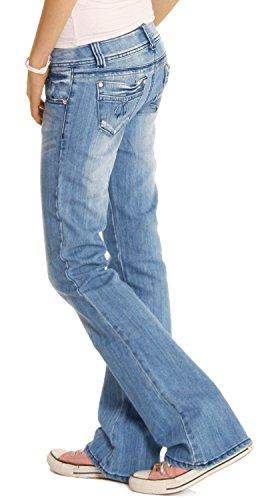 femmes pour taille Bestyledberlin j06x Blau basse Jean bootcut jean HExfFx