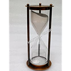 Critsmas Gift item 60 min brass sand timer brown antique finish, fully hand made vintage antique brass replica sand timer sand clock hour glass maritime nautical vint