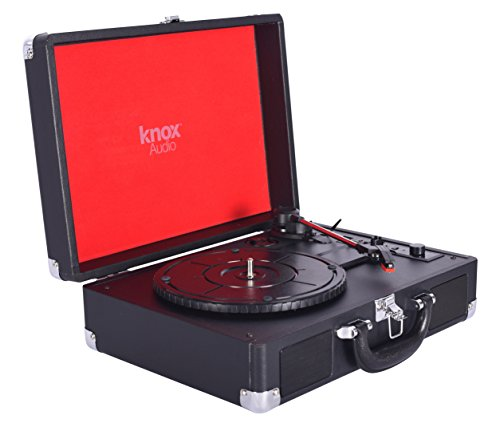 Knox Portable Bluetooth USB Turntable with Built-in Speakers (Black)