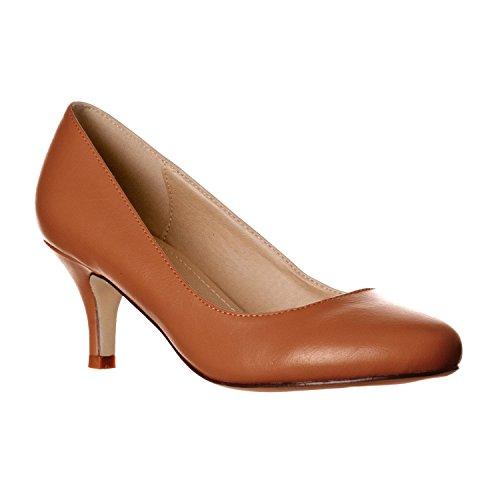 Riverberry Women's Ruby Round Toe, Kitten Low Height Pump Heels, Brown PU, 7 Brown Round Toe High Heel