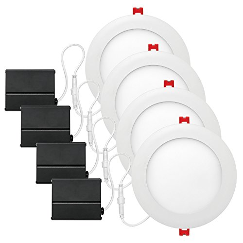 D Integrated Ultra Slim Recessed Lighting Kit 4-Pack, 12 Watts, Energy Star, IC Rated, Dimmable, Wet Rated, Fixed Flood, White Finish, 91126 ()