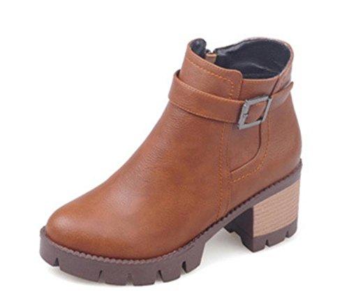 de botas corta Martin las La partido botas de correa otoño mujeres las de y primavera del botas hebilla de mujeres tacón alto botas de Sra brown cqUParcT