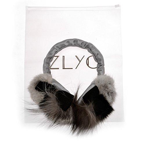 ZLYC Women Fashion Luxurious Rex Rabbit Fur Adjustable Earmuffs Bowknot Earwarmer, Gray by ZLYC (Image #6)