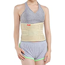 Banglijian Lower Back Brace Lumbar Support Medical Grade Posture Corrector for Men Women, Relieve Lower Lumbar Back Pain from Muscle Strains and Sprains, Sciatica, Scoliosis etc. (X-Large, Beige)