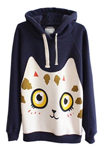 Women's Winter Carton Print Fleece Thicken Pullover Hoodie Swetshirt Shirt - Styled Fleece Crewneck Sweatshirt