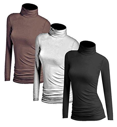 Muse 3x Damen Frauen Langarm Rollkragen - Rolli - Rollkragenshirt - Turtleneck T Shirt - 3er Pack - Basic TShirt Tops - 3 in 1 Schwarz + Weiss + Kaffee