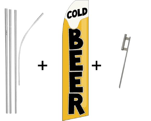 Cold Beer Quantity 4 Super Flag & Pole Kits