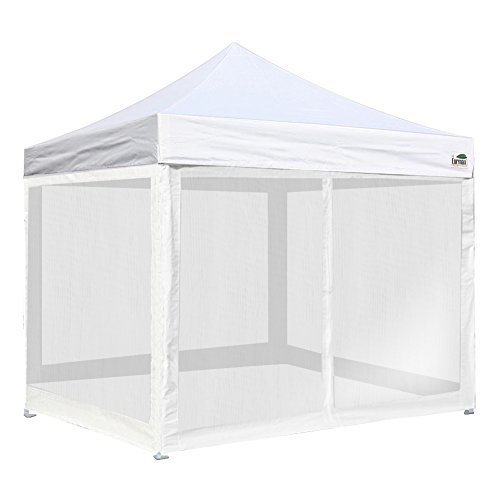 Eurmax Basic 10 X 10 Ez Pop up Canopy Mesh Party Tent with 4 Screen Side Walls and Roller Bag (White)