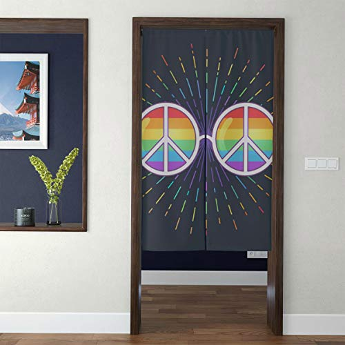 Door Curtain Japanese Noren Curtain Hippie Sunglasses Rainbow Lenses Peace Sign 3D Print Doorway Curtain Hallway Bedroom Partition Curtain Door Tapestry with Telescopic Rod for Home Decor Long - Sunglasses 2171