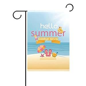 Fun Hello Summer casa doble cara bandera de patio jardín al aire libre temporada 12x 18inch
