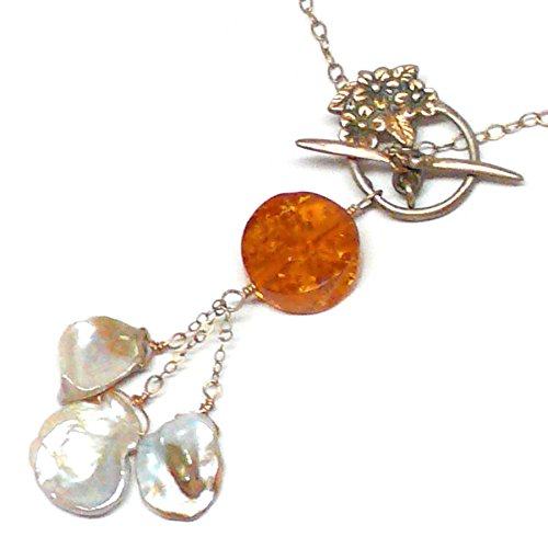 - Baltic Amber Coin Cultured Petal Pearl Gold-filled Chain Necklace