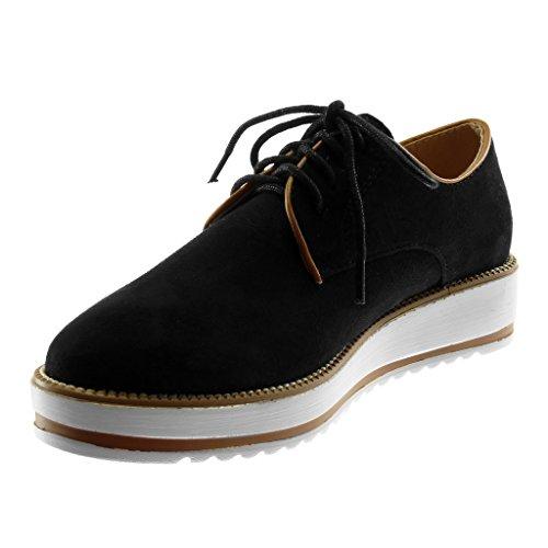 Moda Plataforma Angkorly 4 CM de Plataforma Pespunte Zapatillas Zapatillas Suela Acabado Zapato Negro Costura Derby Mujer q56nROp5