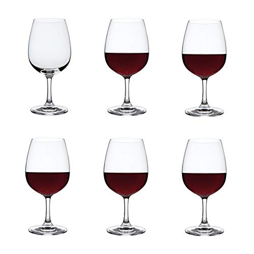Dartington Crystal - Crystal Red Wine Glasses, Set of 6 x 450ml - Drink