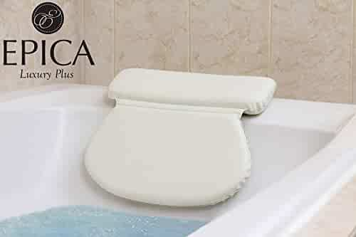 Epica 2X-Thick Luxury Spa Bath Pillow, SuperGrip Suction Cups