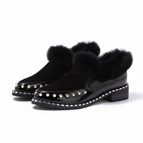 ZH Invierno Puntiagudo Y Cachemira Grueso con Invierno Zapatos de Felpa Casual Zapatos de Mujer Casual Negro