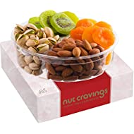 Gourmet Gift Basket, Nut & Dried Fruit Tray (4 Mix) - Variety Care Package, Birthday Party Food, Holiday Arrangement Platter, Healthy Snack Box for Families, Women, Men, Adults - Prime Delivery