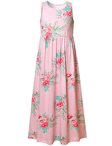 Girls Dresses For Kids Summer Pink Floral 4-5Years/Height:43in ()