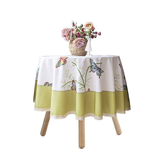 Wewoch Decorative Butterfly Print Lace Water Resistant Tablecloth Wrinkle Free and Stain Resistant Fabric Tablecloths for Round Table 60 Inch by 60 Inch