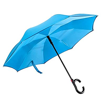 Amagoing Inverted Umbrella Automatic Open Double Layer Car Reverse Umbrella Windproof for rain (Upgraded Version)