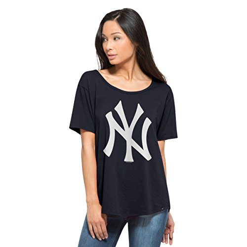 MLB New York Yankees Women's '47 Boyfriend Scoop Neck Tee, X-Large, Fall Navy