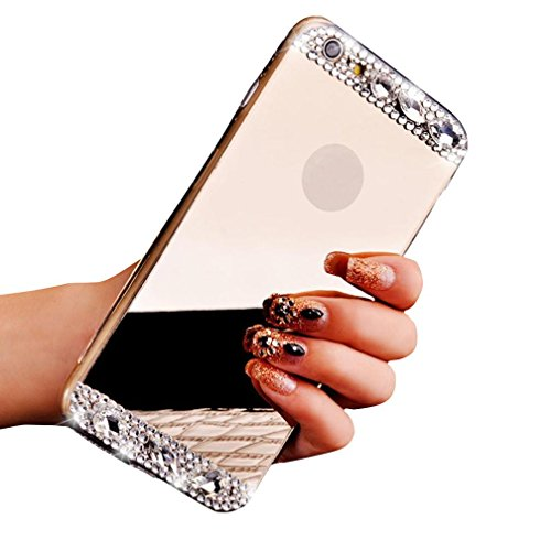 For iPhone 6/6S Sunfei ®Bling Diamond 4.7inch Mirror Back TPU Soft Case Cover Gold 3twvM3bN