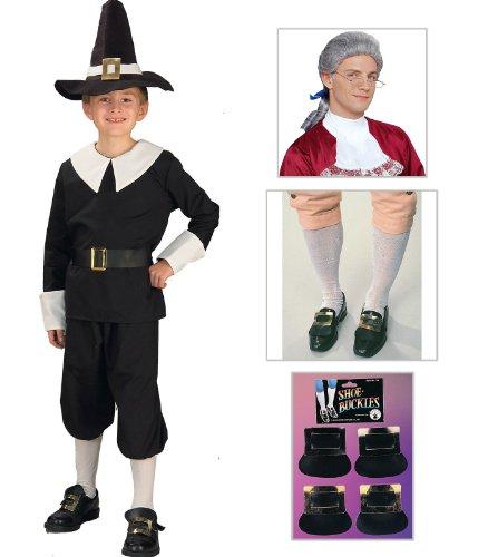 [Pilgrim Boy Child Costume, Shoe Buckles, Mens Socks and Ben Franklin Glasses] (Ben Franklin Costumes Child)