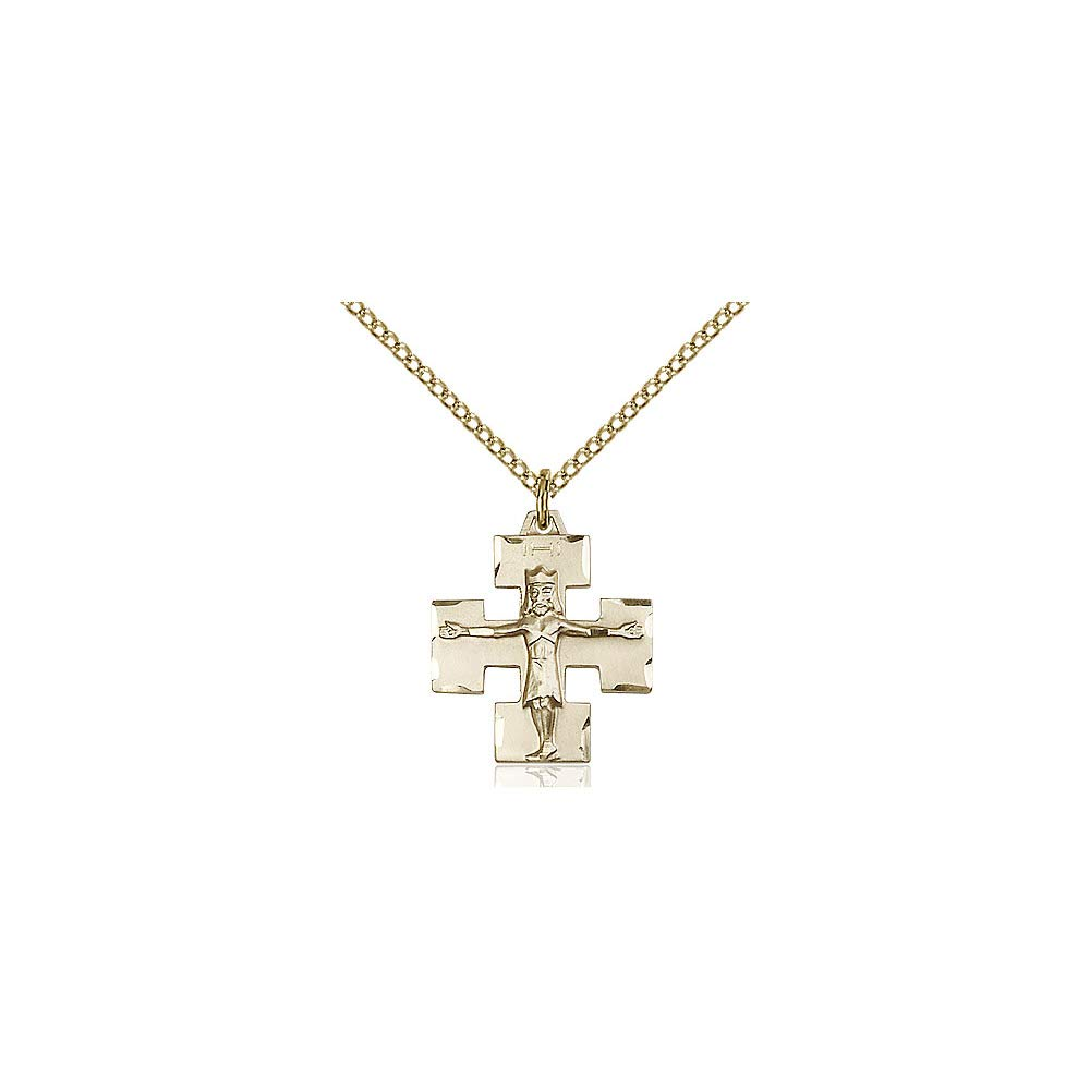 DiamondJewelryNY 14kt Gold Filled Modern Crucifix Pendant