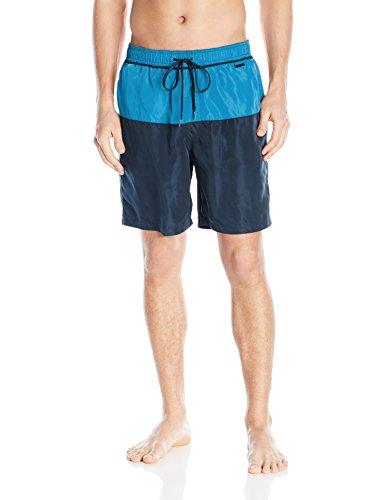 Calvin Klein Men's Color Block Volley Swim Trunk, Fierce Blue/Multi, Large