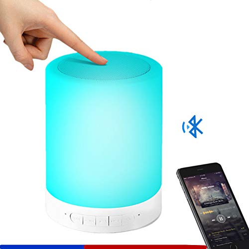 Bluetooth Speaker Lighting with TF Card, Smart Touch Sensor LED Music Table Lamp Dimmable Wireless One-to-Many for Camping,Party Night Light (White)