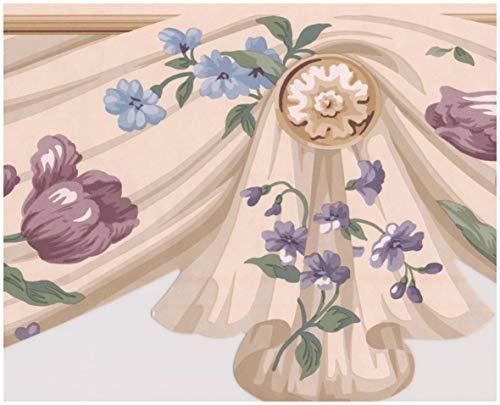 - Purple Tulips Beige Floral Wallpaper Border Retro Design, Roll 15' x 6.4''