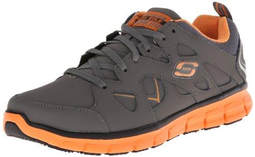 Skechers for Work Men's Synergy-Tal Slip Resistant Work Shoe,Charcoal/Org,10.5 M US