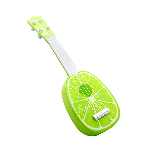 Unetox Guitar Ukulele Toy Kids Fun Learn Musical Instrument Guitar Toys Lime Fruit Style 4 String Guitar for 3-18 Years Old Child 1 Pcs (Lemon)