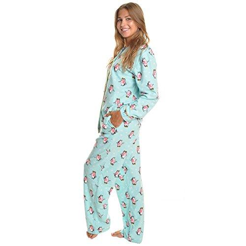 Angelina Women's Cozy Fleece Pajama Set, Penguin, Large