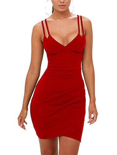GOBLES Women's Sexy Ruched Double Spaghetti Strap Bodycon Club Party Mini Dress Red ()