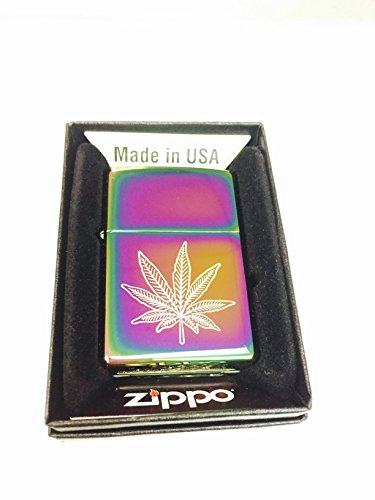 Zippo Custom Lighter - Weed Pot Ganja Leaf Marijuana Spectrum