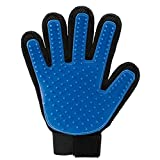 Pet Glove Grooming Brush Gentle Deshedding Brush Glove Efficient Pet Hair Remover Massage Bathing Brush Comb Pet Cleaning Supplies Pet Dog Accessories Right Hand Blue