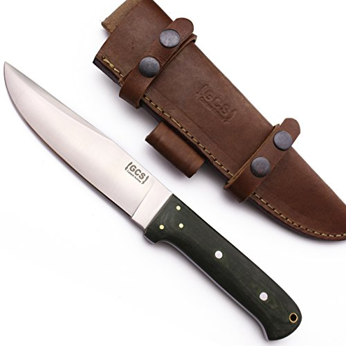 GCS Custom Handmade Olive Green Micarta Handle D2 Tool Steel Knives Buffalo Hide Sheath (Bone Handled Skinning Knife)