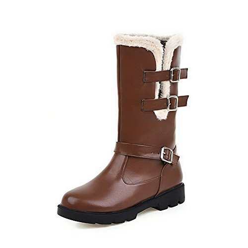 Women's Soft Boots Top AmoonyFashion Heels Brown Material Low Buckle Low Solid dzRqxnwT