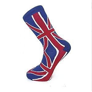 Macahel Men's New Man Ankle Union Jack British Flag Good Quality Socks One Size RedBlue