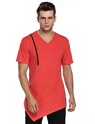 [Coofandy Men's Casual Short Sleeve V-Neck Zipper Red T-Shirt Pullover Summer Cotton Solid Tees] (Red V-neck Pullover)
