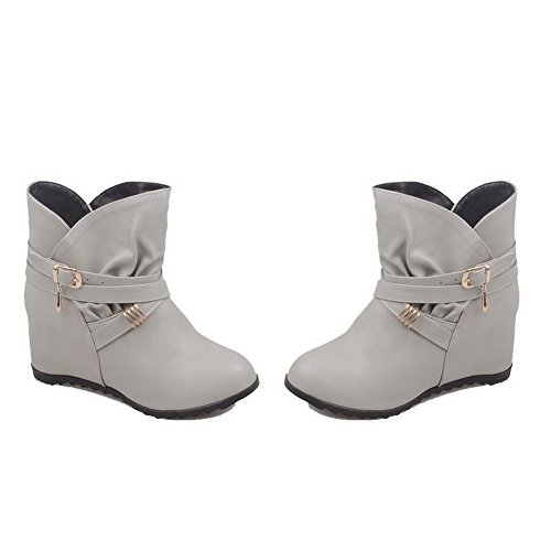 Boots Solid Heels On Soft Kitten AgooLar Gray Top Women's Pull Low Material Ov7W6Wq