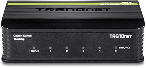 TRENDnet GREENnet Desktop Switch, Plug 5 Gigabit 10 Gbps, TEG-S5g